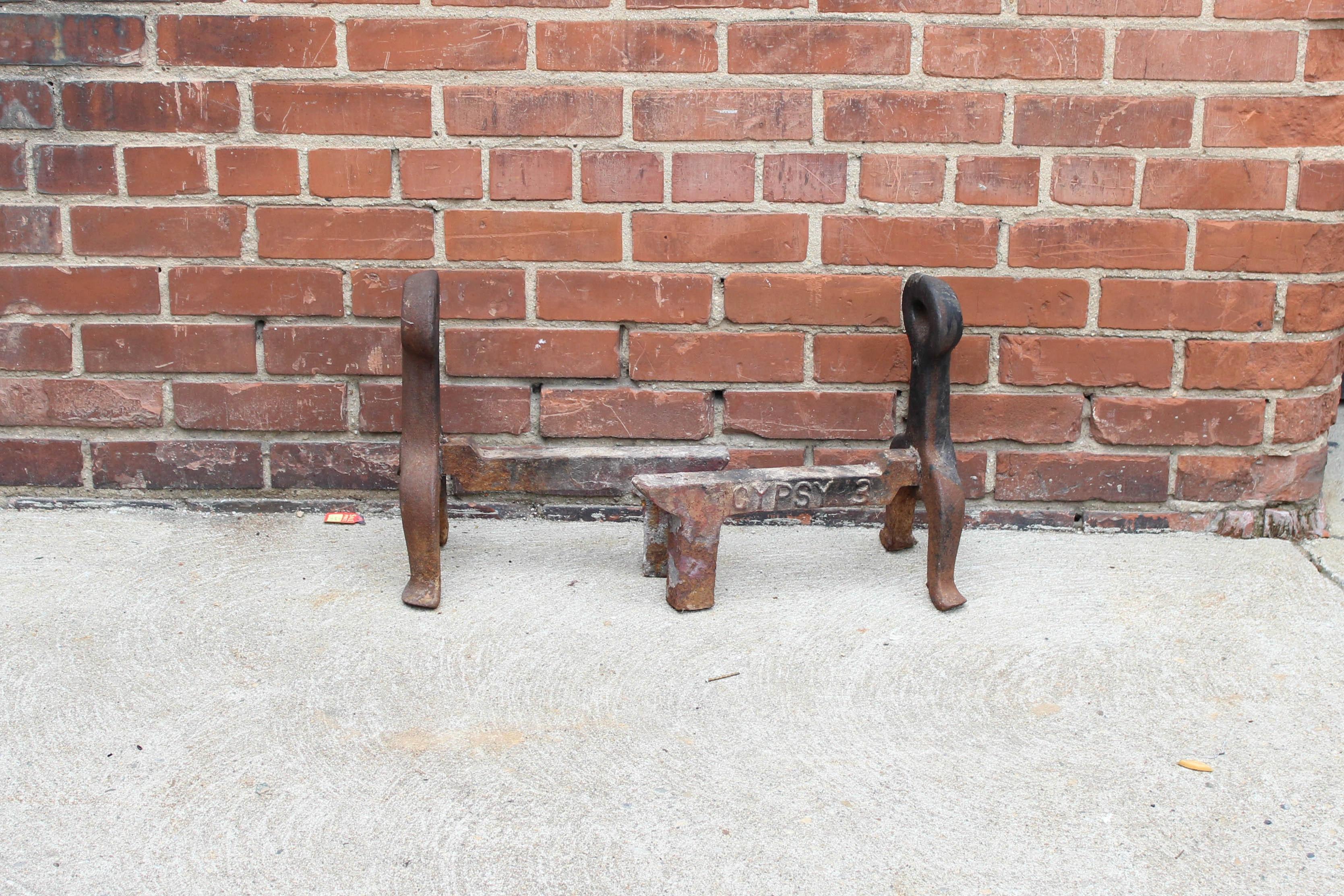 antique cast iron andirons
