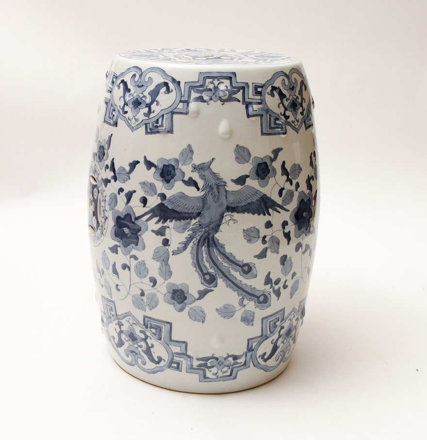 Blue And White Chinese Style Ceramic Garden Stool Ebth