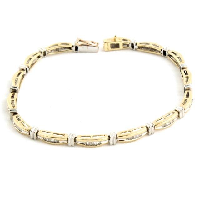 10k Yellow And White Gold Diamond Tennis Bracelet Ebth