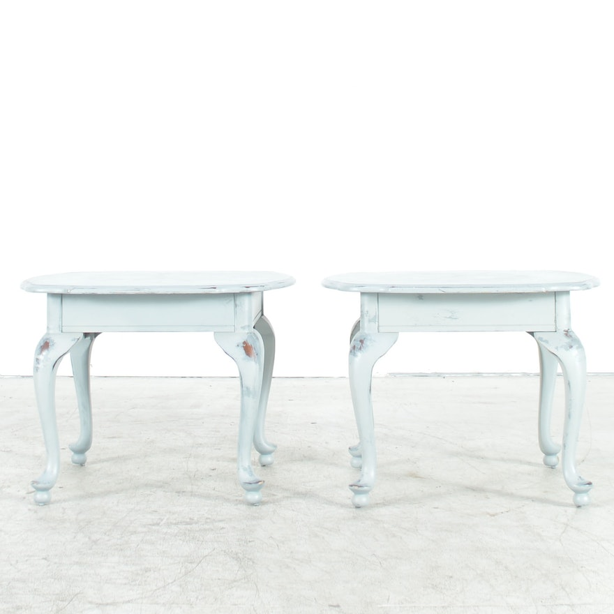 French Country Style Blue Painted Accent Tables