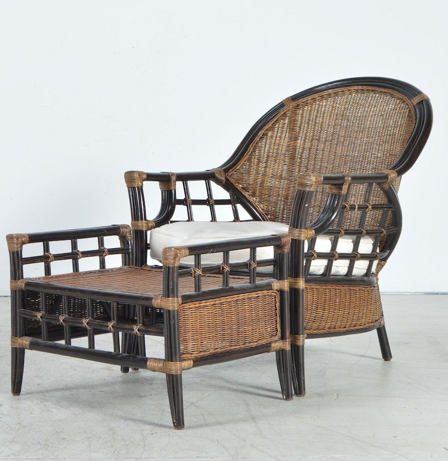 wicker and bamboo chair and ottoman ebth. Black Bedroom Furniture Sets. Home Design Ideas