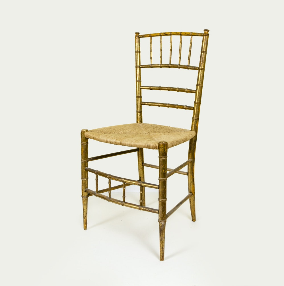 Gold Tone Accent Chair