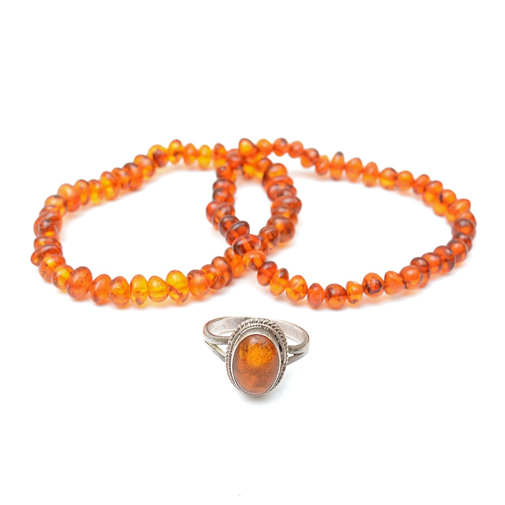 Amber Beaded Bracelets and Sterling Silver Amber Ring