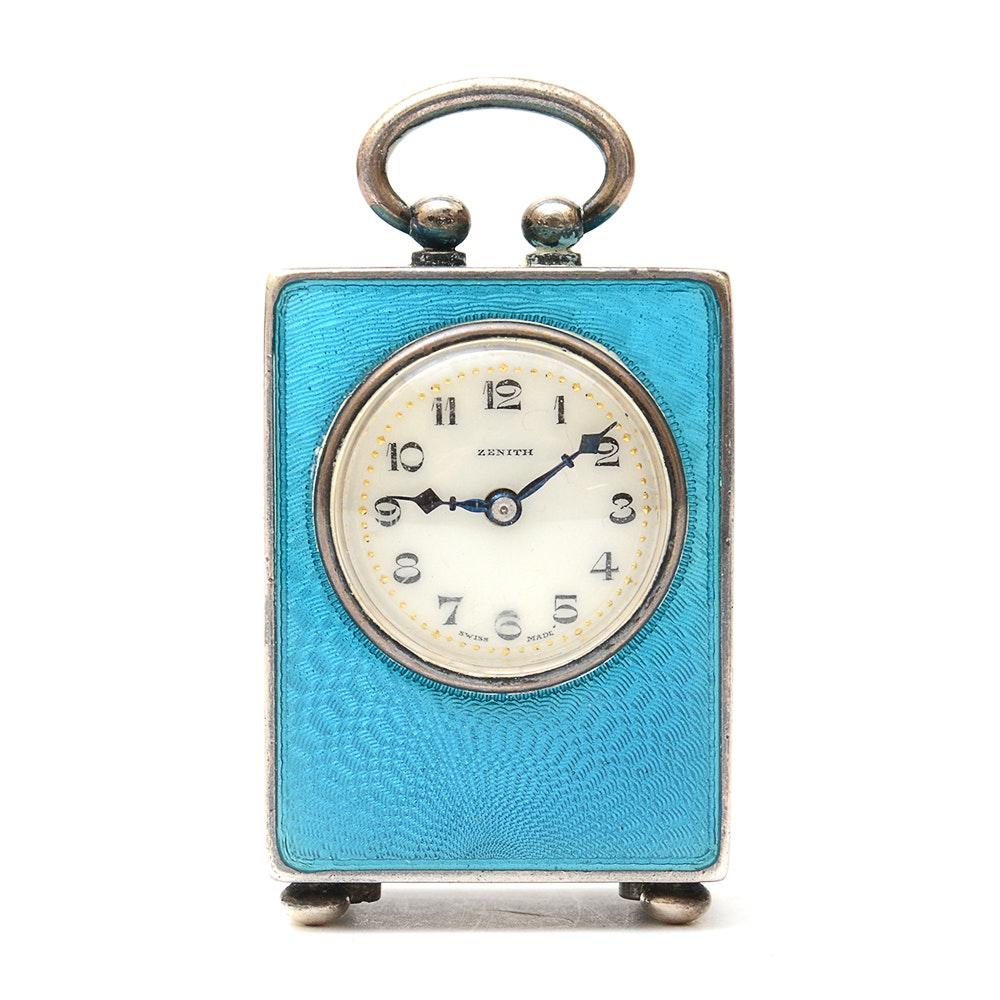1920s Zenith Sterling Silver Guilloché Enamel Miniature Carriage Clock