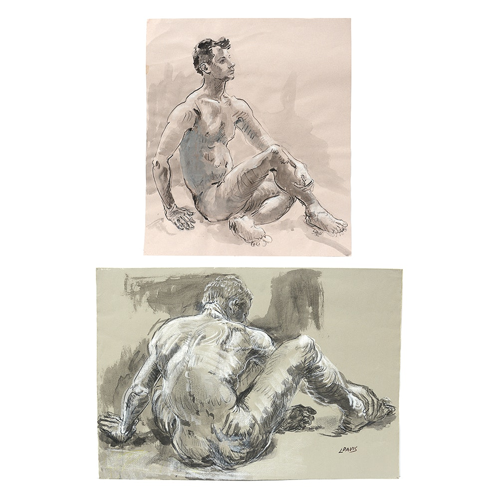 Pair of Nude Male Figure Studies by Indiana Artist Lois Davis
