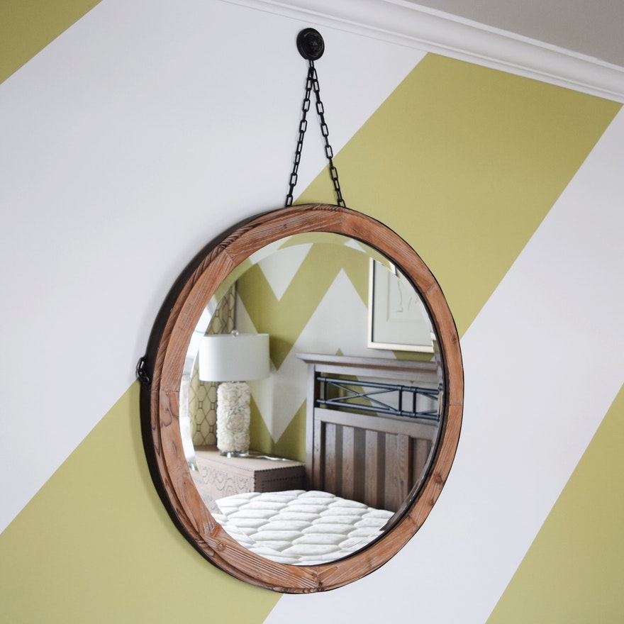 rustic round wall mirror in wood frame with metal rim ebth. Black Bedroom Furniture Sets. Home Design Ideas