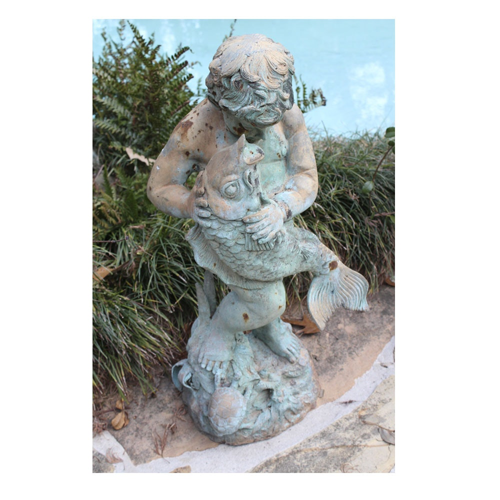 Child with fish garden statue ebth for Fish garden statue