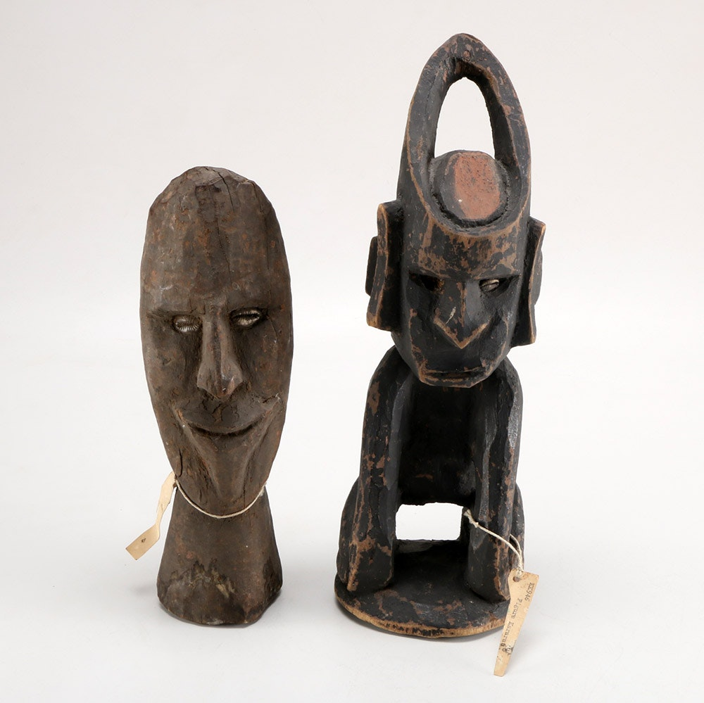 Pair of Painted Wooden African Sculptures