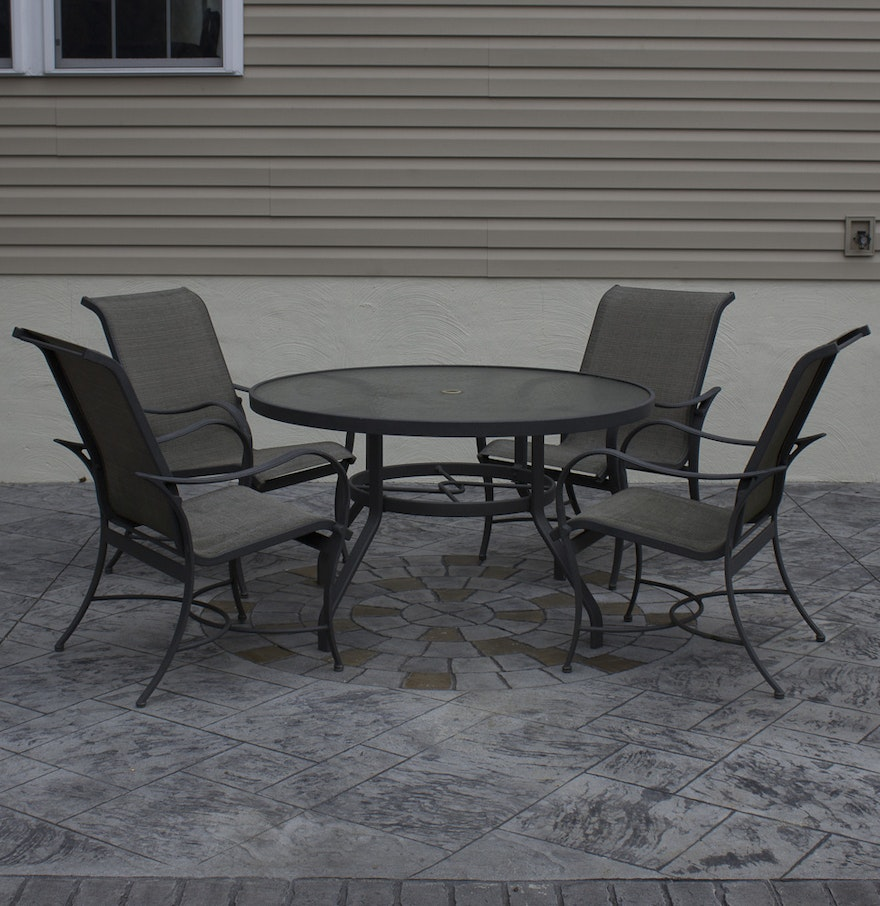 Glass Top Patio Table And Aluminium Chairs : EBTH