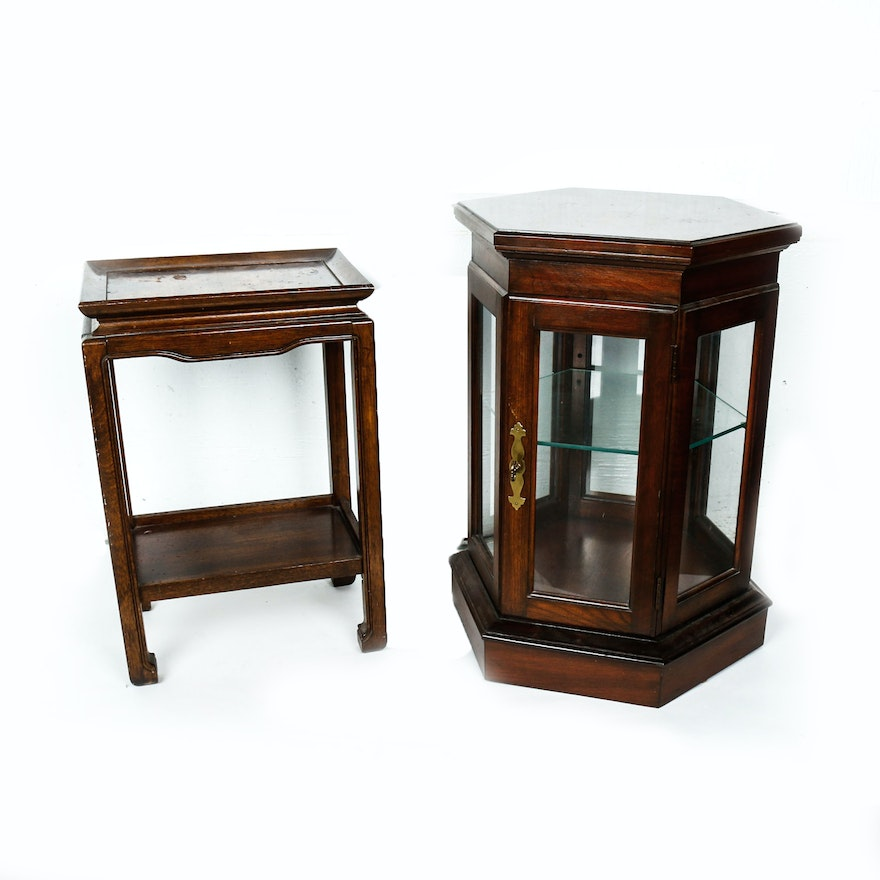 Wooden Asian Inspired Side Table And Hexagonal Curio Cabinet With Light Ebth