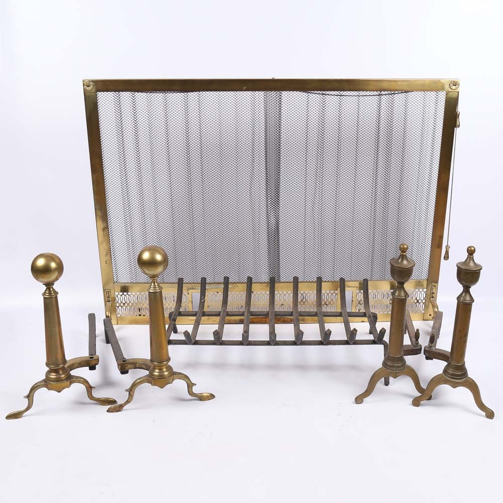 vintage brass fireplace screen and andirons ebth