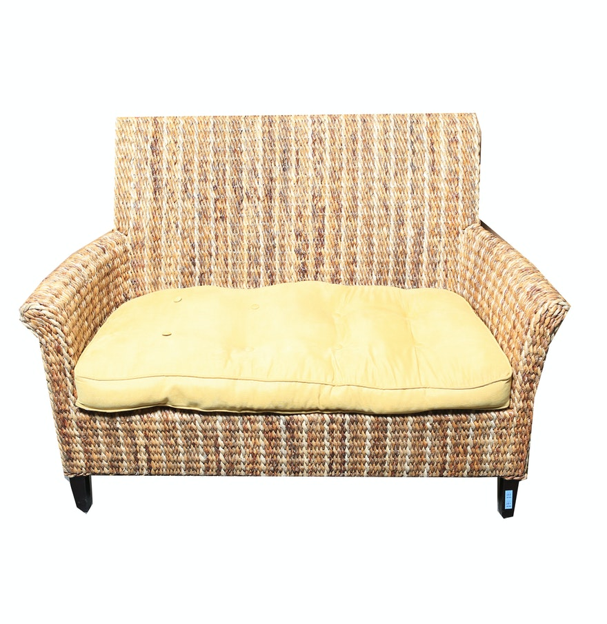 Wicker Bench With Yellow Upholstered Seat Cushion Ebth