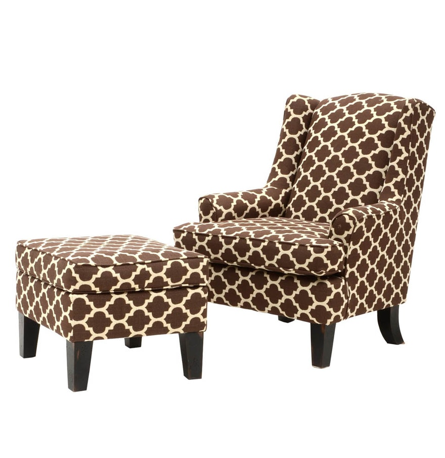 brown and white upholstered armchair with ottoman ebth