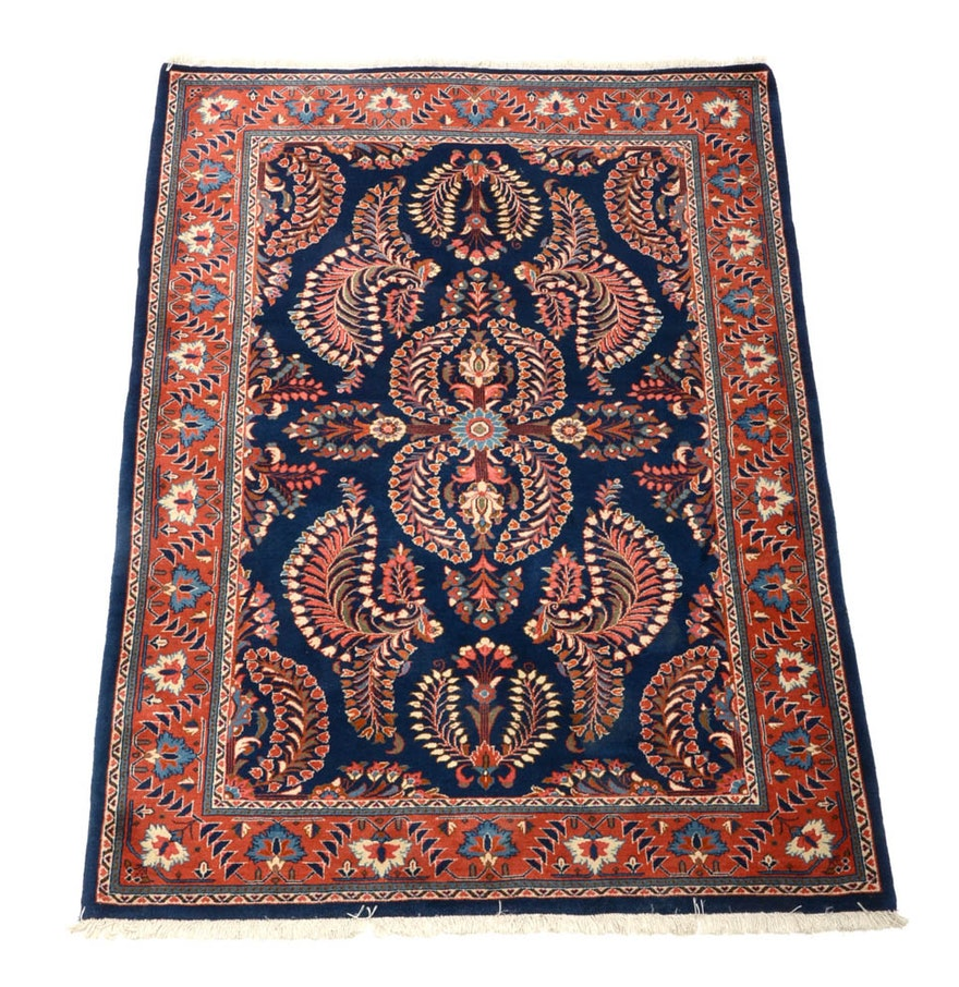 Persian Style Wool Area Rug Ebth: Persian Hand Woven Sarouk Wool Area Rug : EBTH