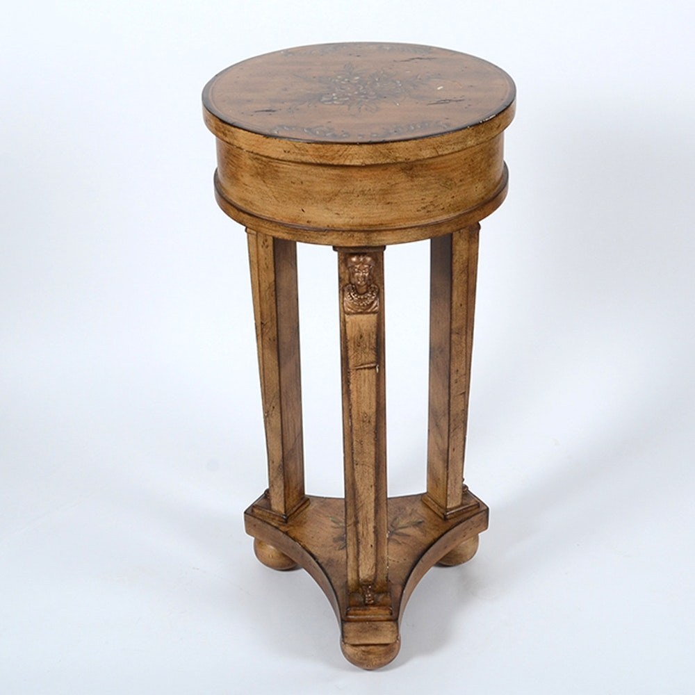 Round accent table with floral details ebth for 12 inch round side table