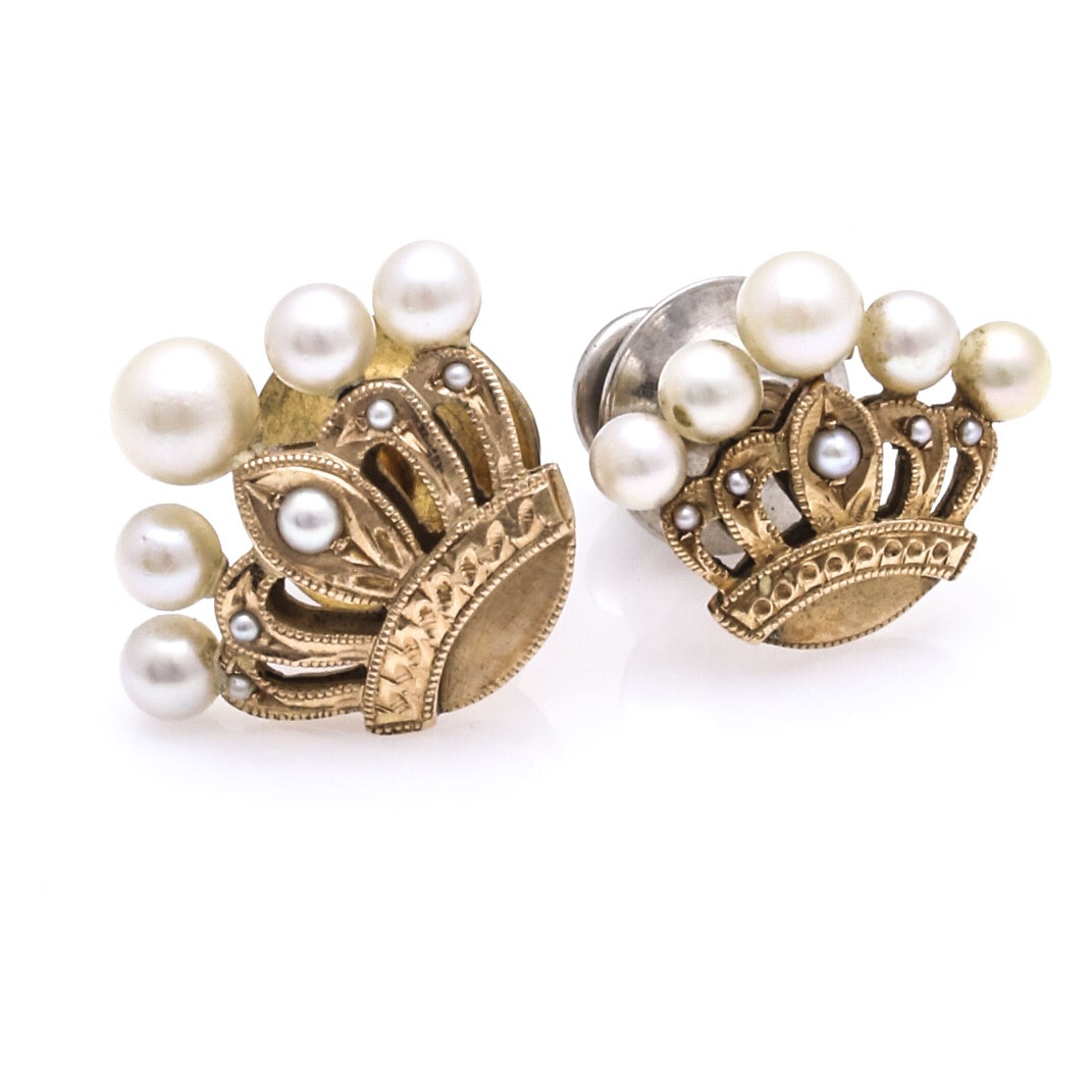 14K Yellow Gold Pearl Crown Pins