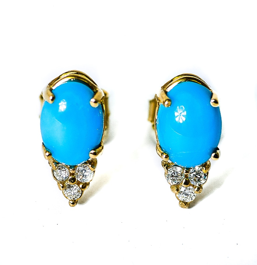 14k yellow gold turquoise and diamond stud earrings ebth. Black Bedroom Furniture Sets. Home Design Ideas