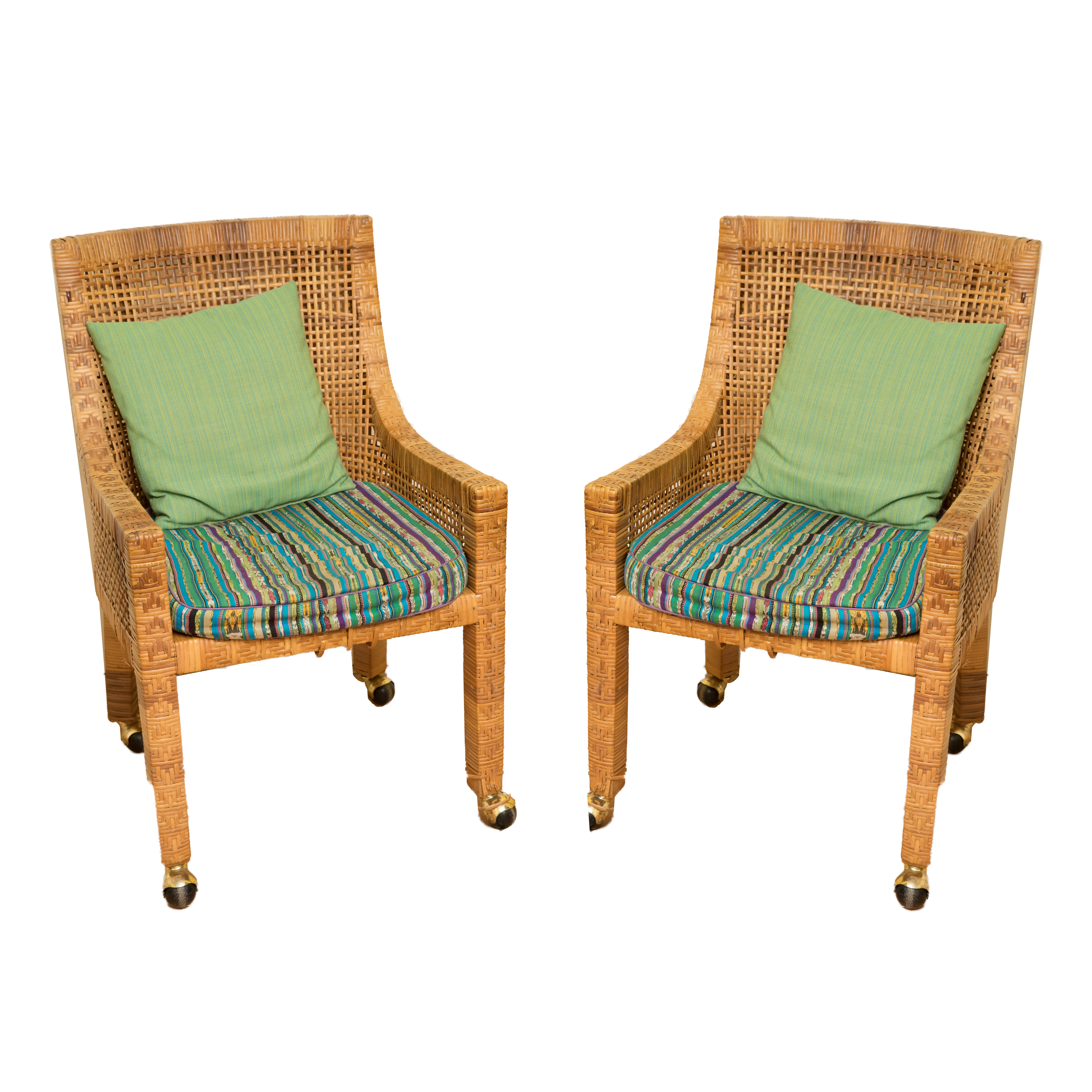 Two Wicker Arm Chairs