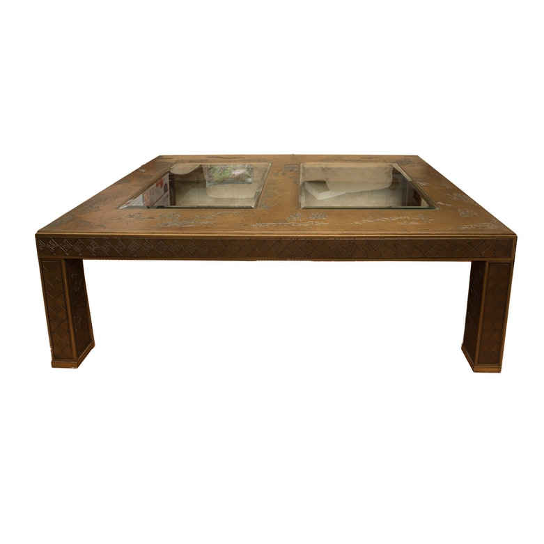 Daisy Carved Wooden Table Ebth