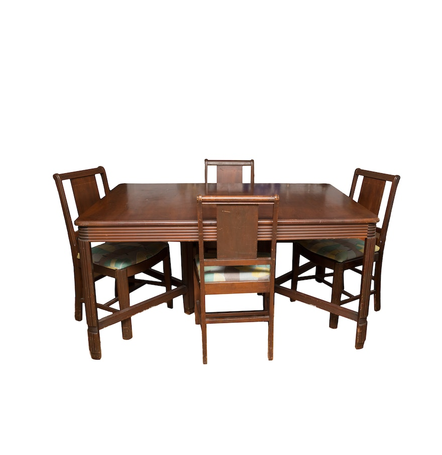 Vintage Hooker Bassett Furniture Dining Table And Chair