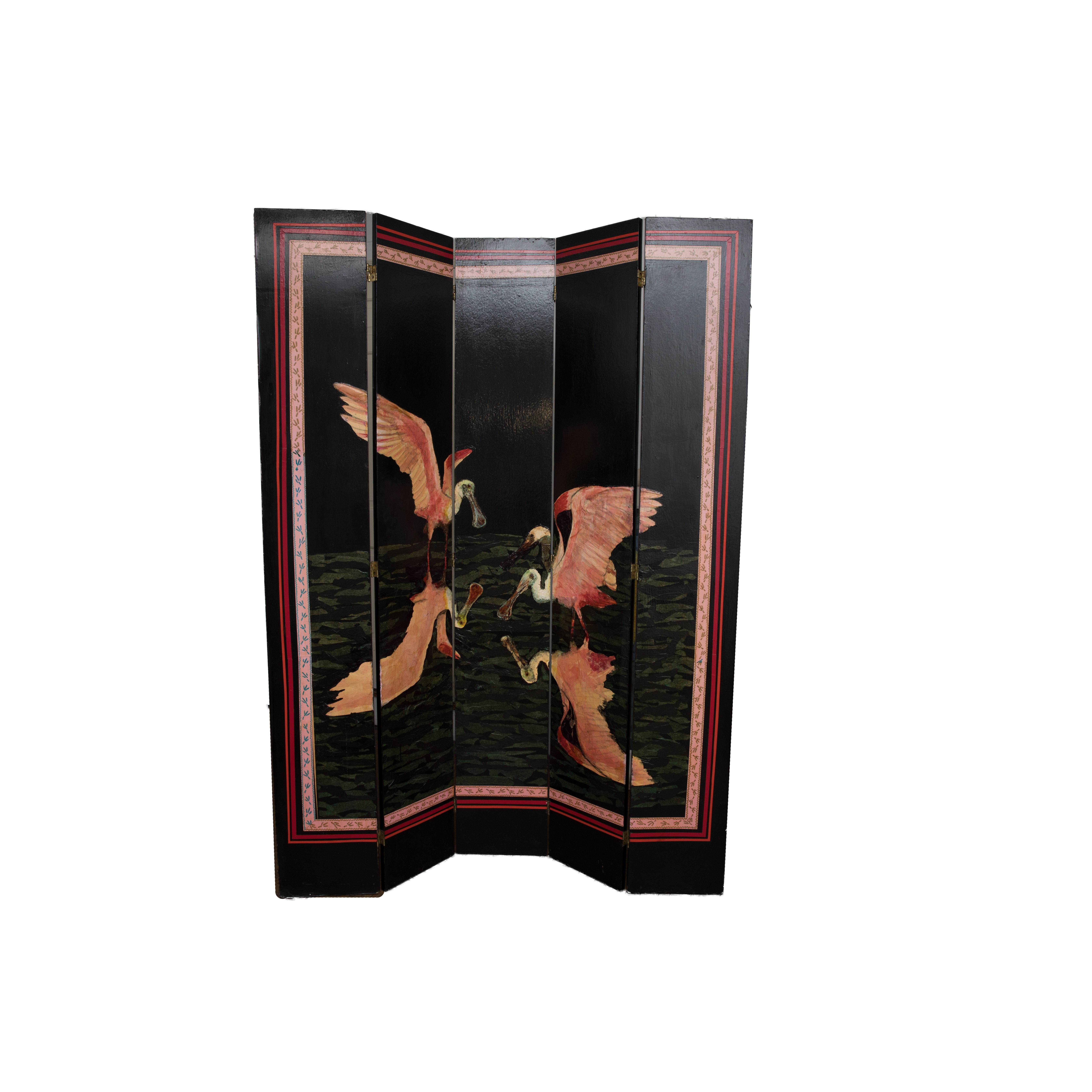 Wooden Room Divider with Spoonbill Bird Design