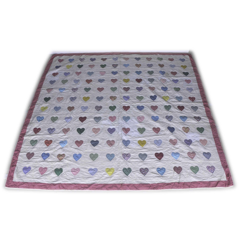 Handmade Cotton Quilt With Heart Shape Appliqué