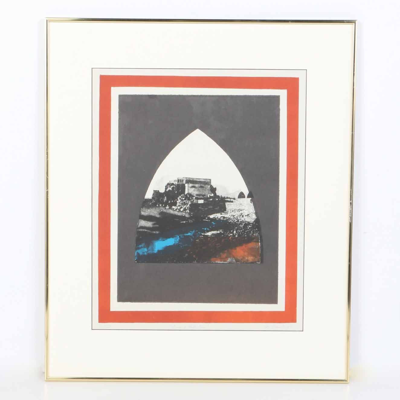 "M. Feinberg Aquatint ""Ancient Reflections"""