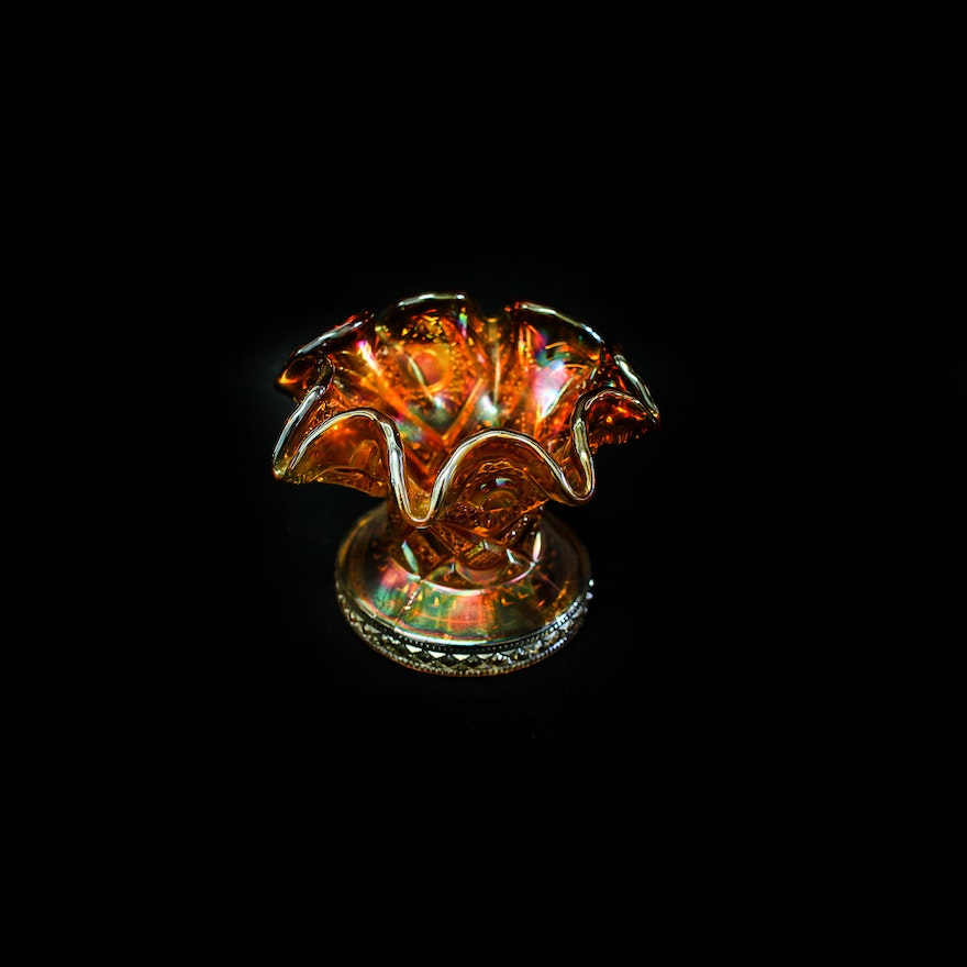 Vintage Iridescent Orange Carnival Glass Vase Ebth
