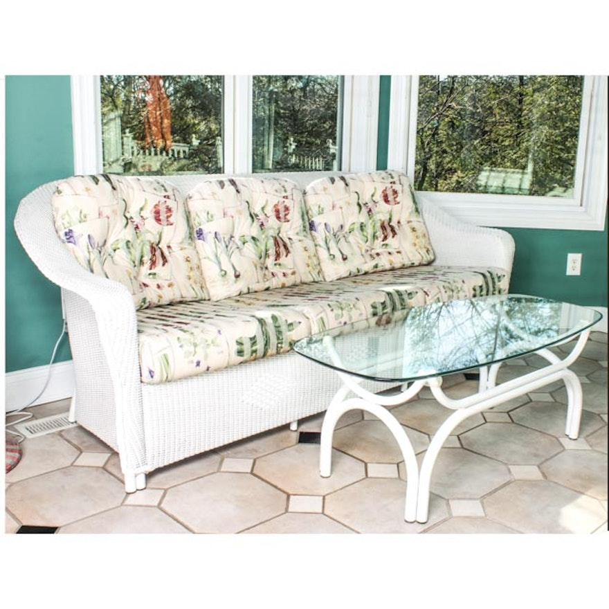 White Wicker Sunroom Sofa And Coffee Table Ebth