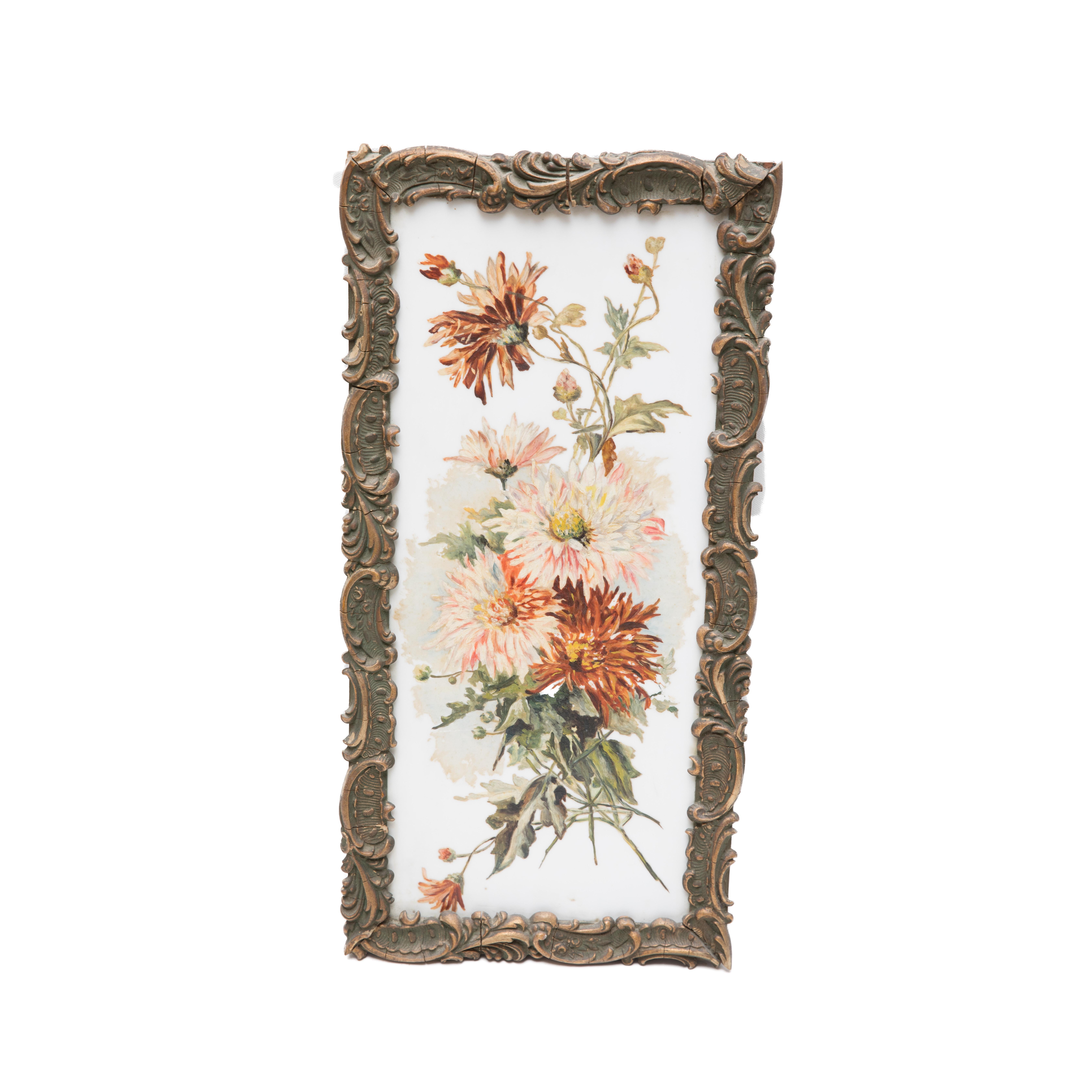 Ornately Framed Floral Painting on Ceramic