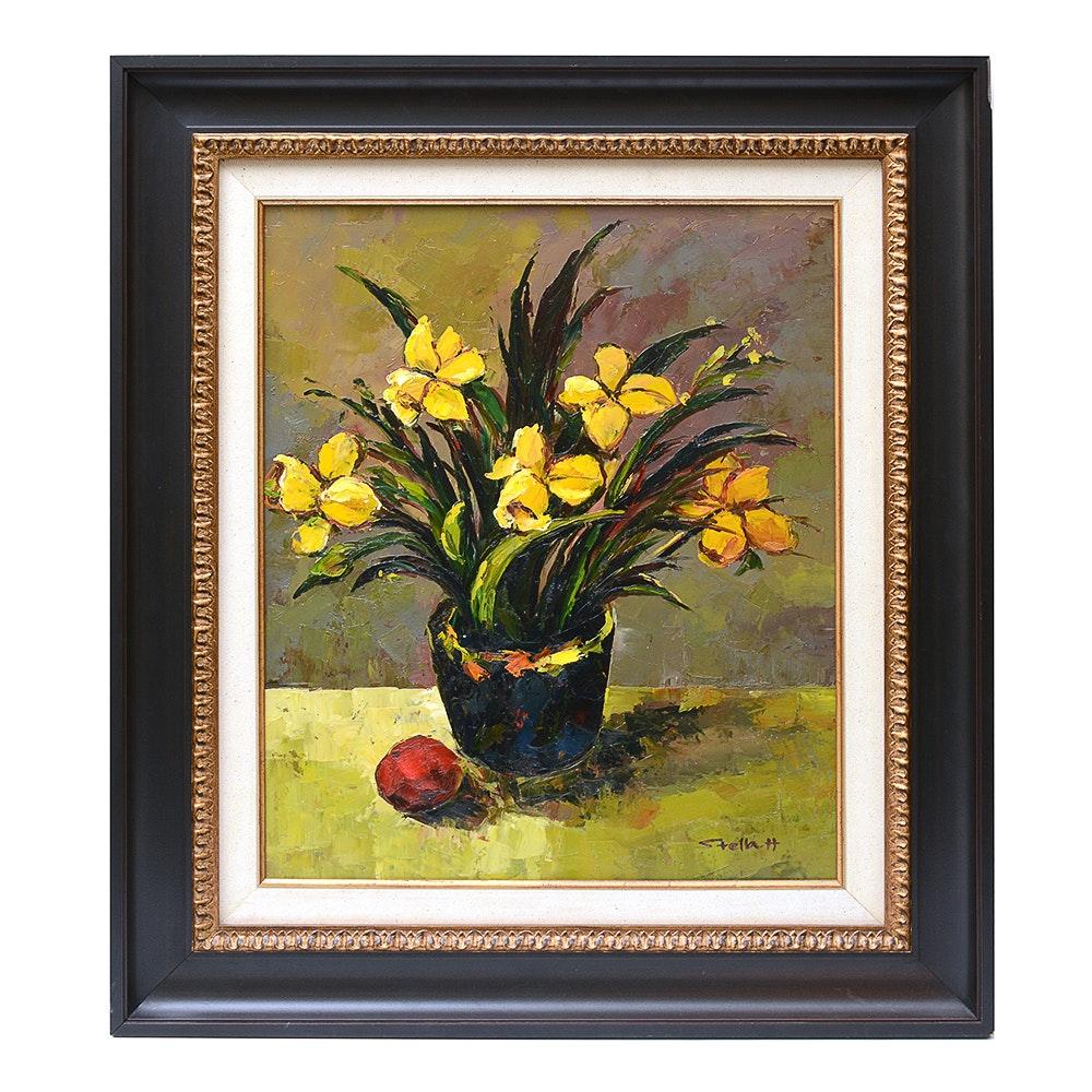 Floral Still Life Impasto Painting