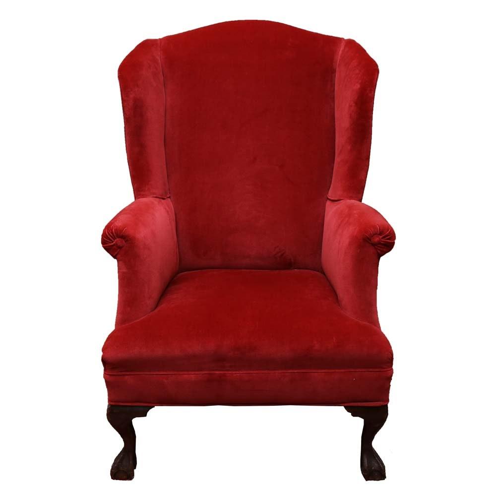 Ladiesu0027 Red Velvet Wingback Chair ...