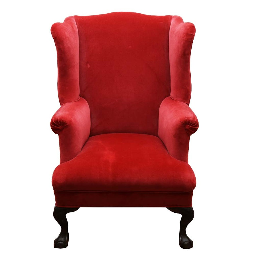 Red Velvet Wingback Chair