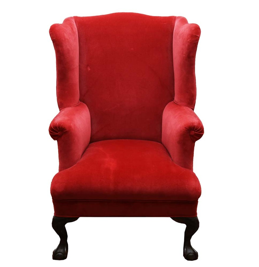 Red velvet chair - Red Velvet Wingback Chair