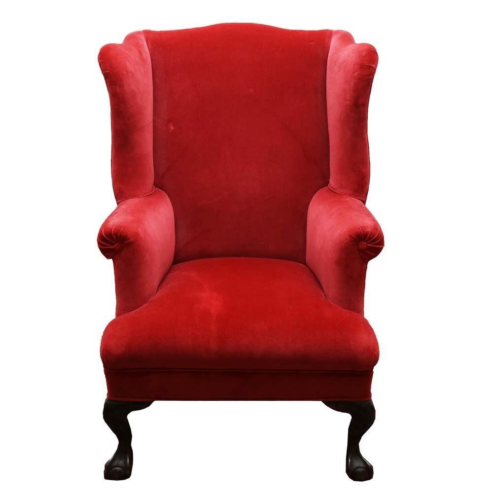 Red Velvet Wingback Chair ...
