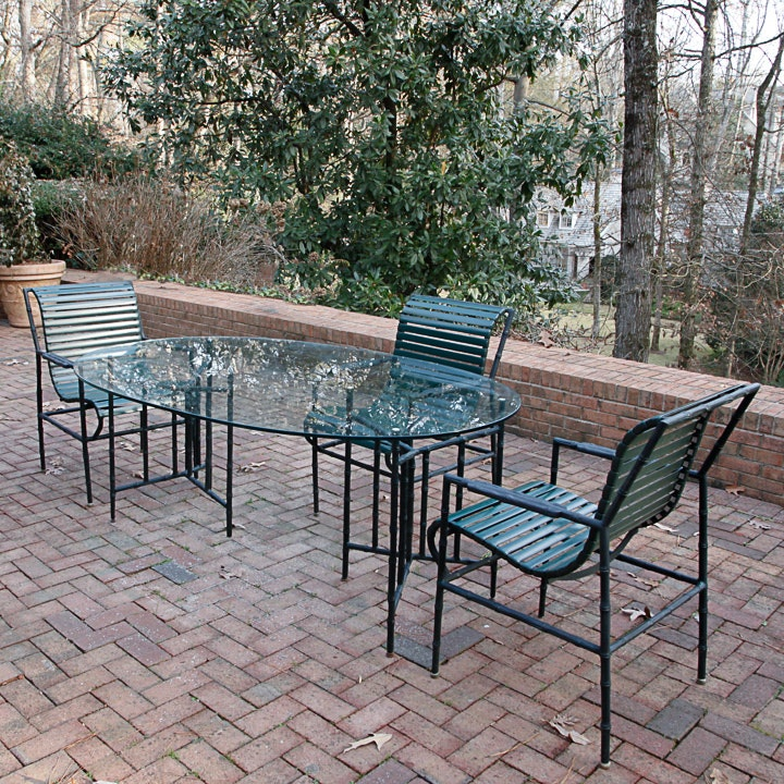patio glass dining table and chair set ebth