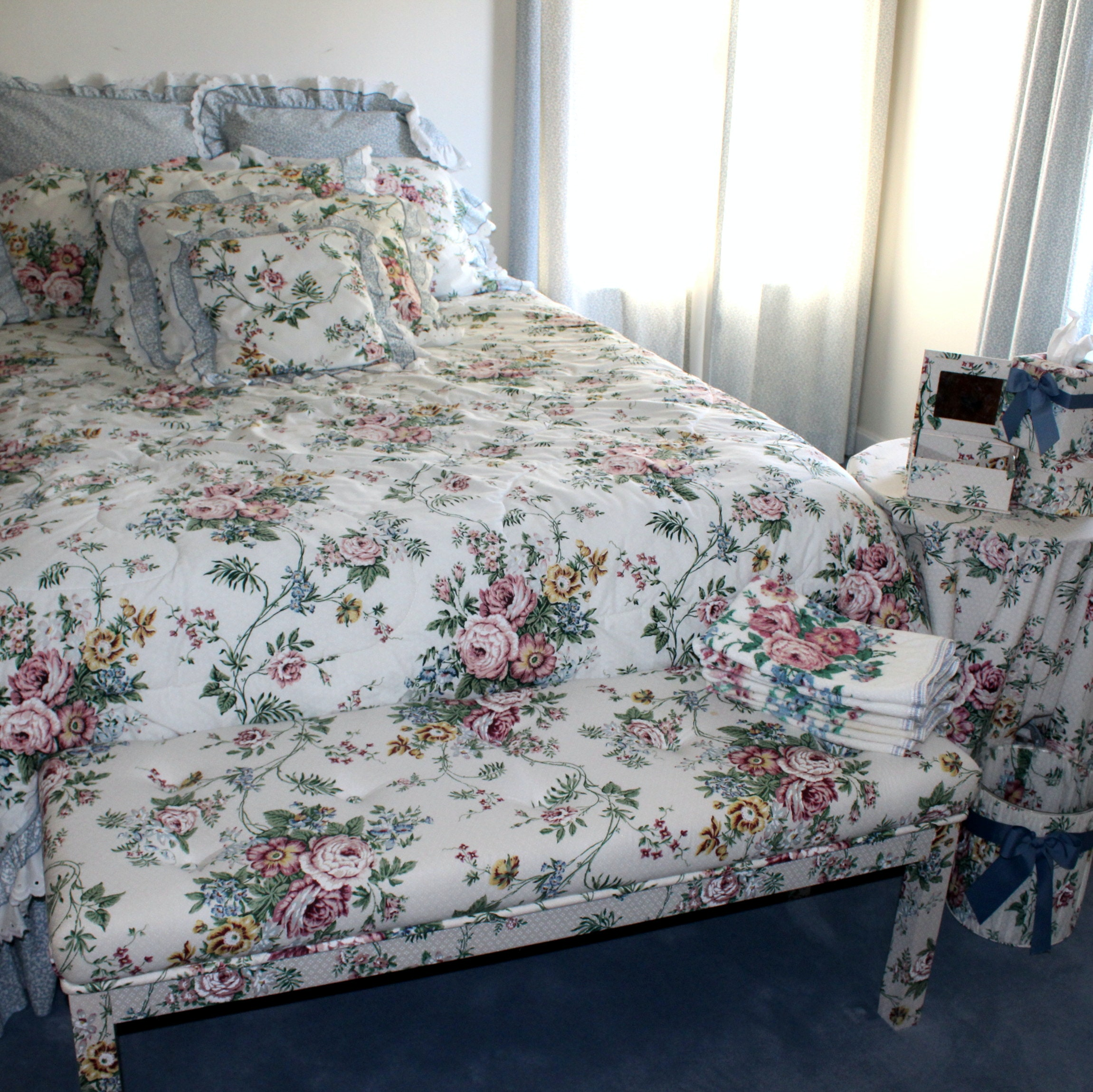 Floral Bedding, Bench, and Accessories