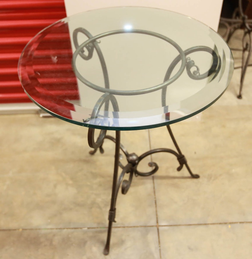 Scrolled metal and wood coffee table - Early 21st Century Scrolled Metal Side Table With Glass Top