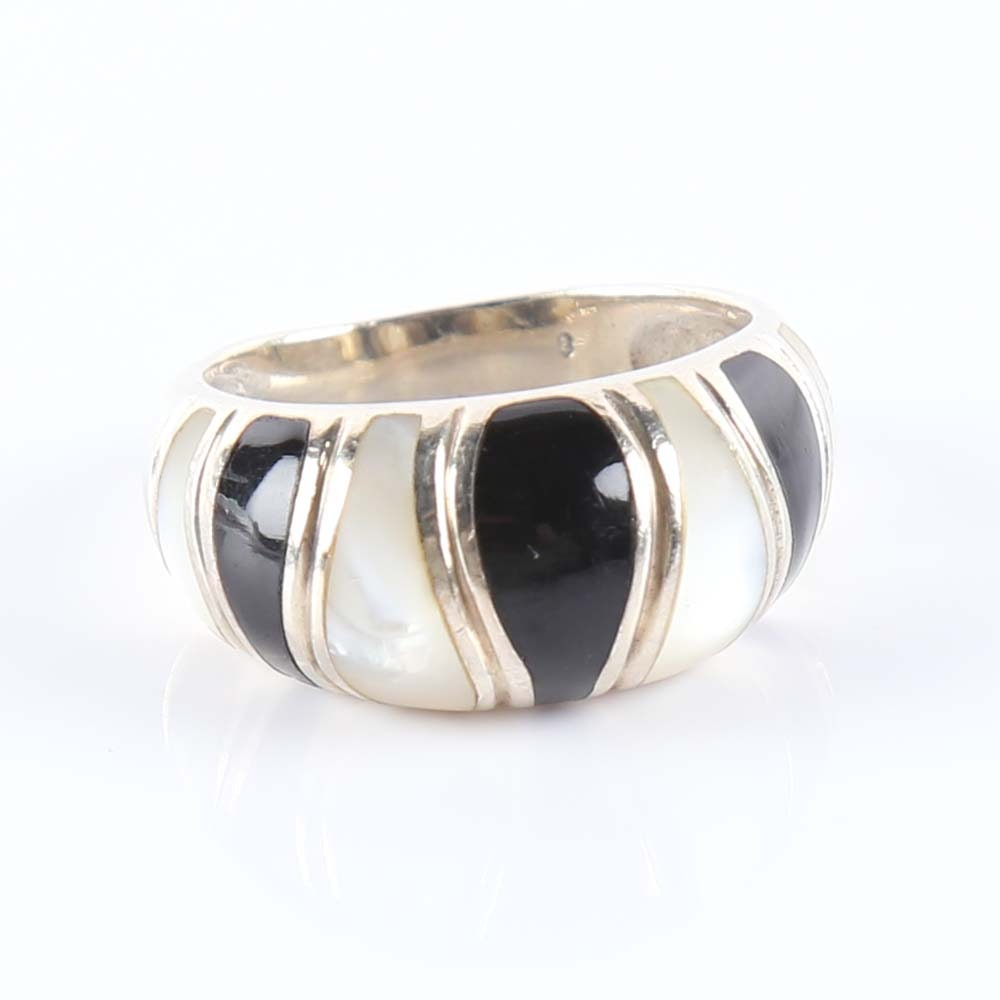 monies designer black lucite and sterling silver ring ebth