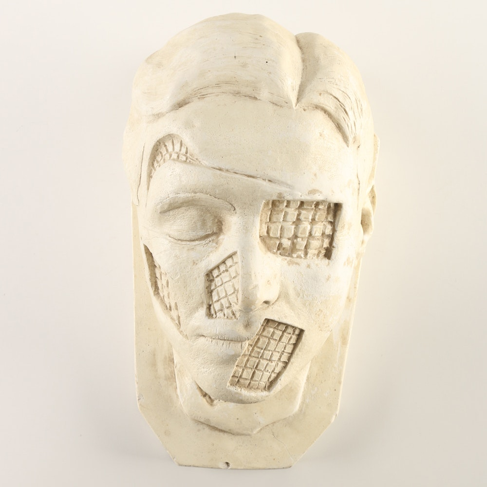 Eclectic White Ceramic Bust Head