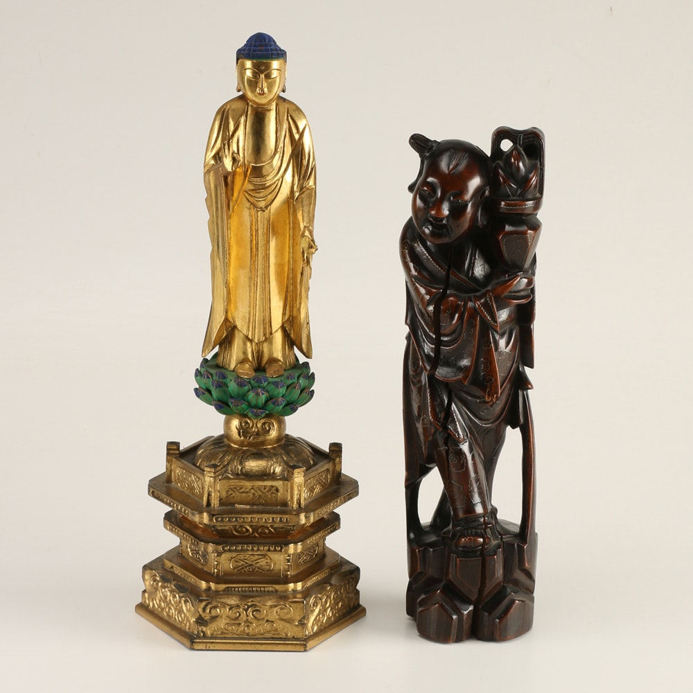 Carved Buddha and Chinese Child Statues