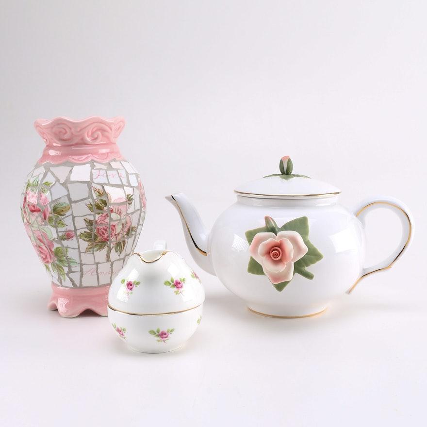 Rose Motif Vase And Teapot Ebth