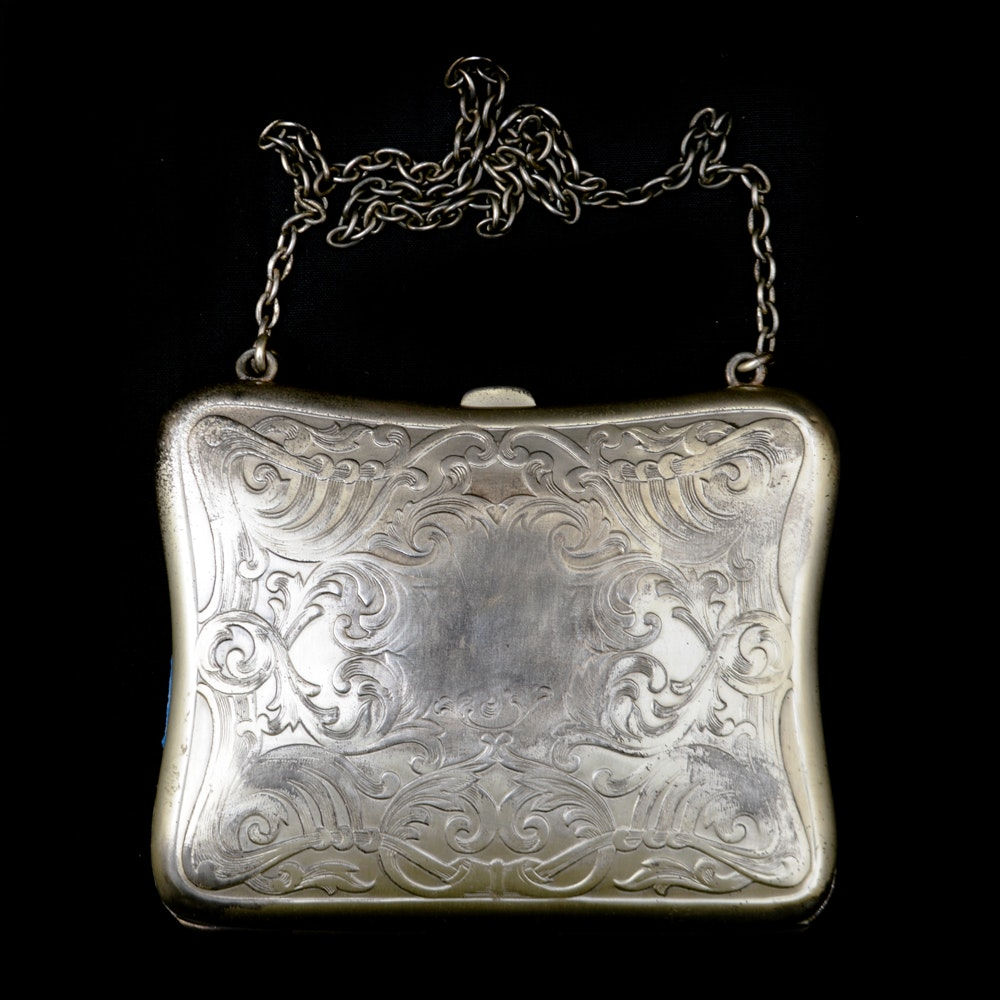 Antique Art Nouveau Sterling Silver Dance Purse