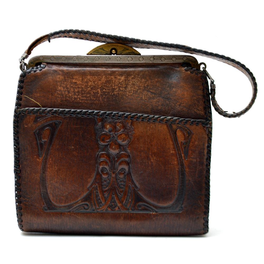 Vintage Hand-Tooled Leather Bosca Built Purse