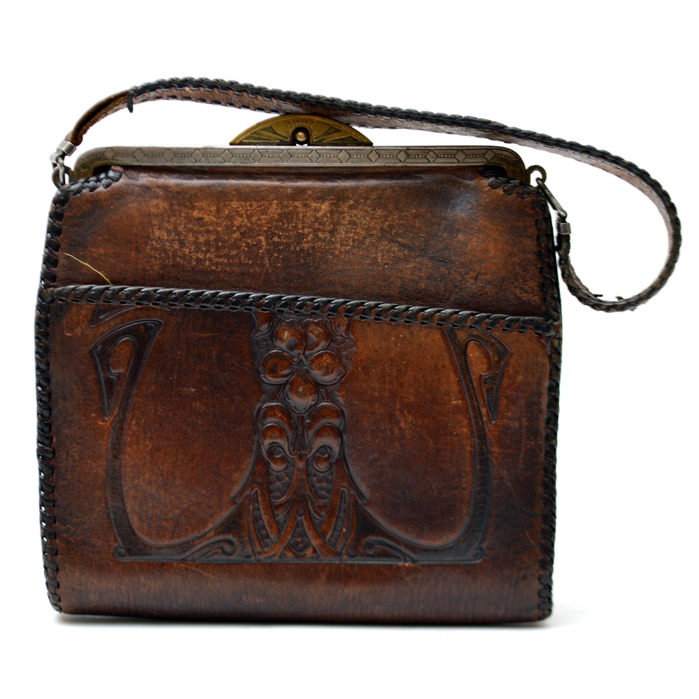 Vintage Hand-Tooled Leather Bosca Built Purse