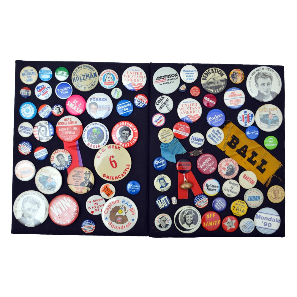 Political and Pop Culture Pin-Back Button Collection