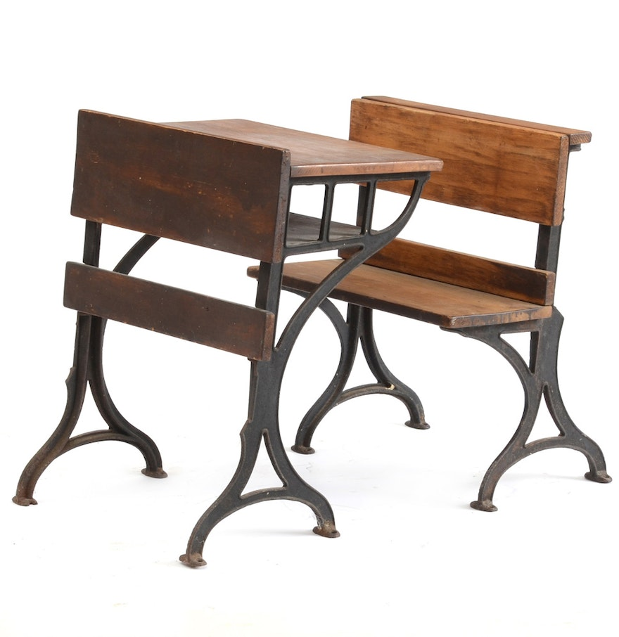 antique school chair and desk ebth. Black Bedroom Furniture Sets. Home Design Ideas