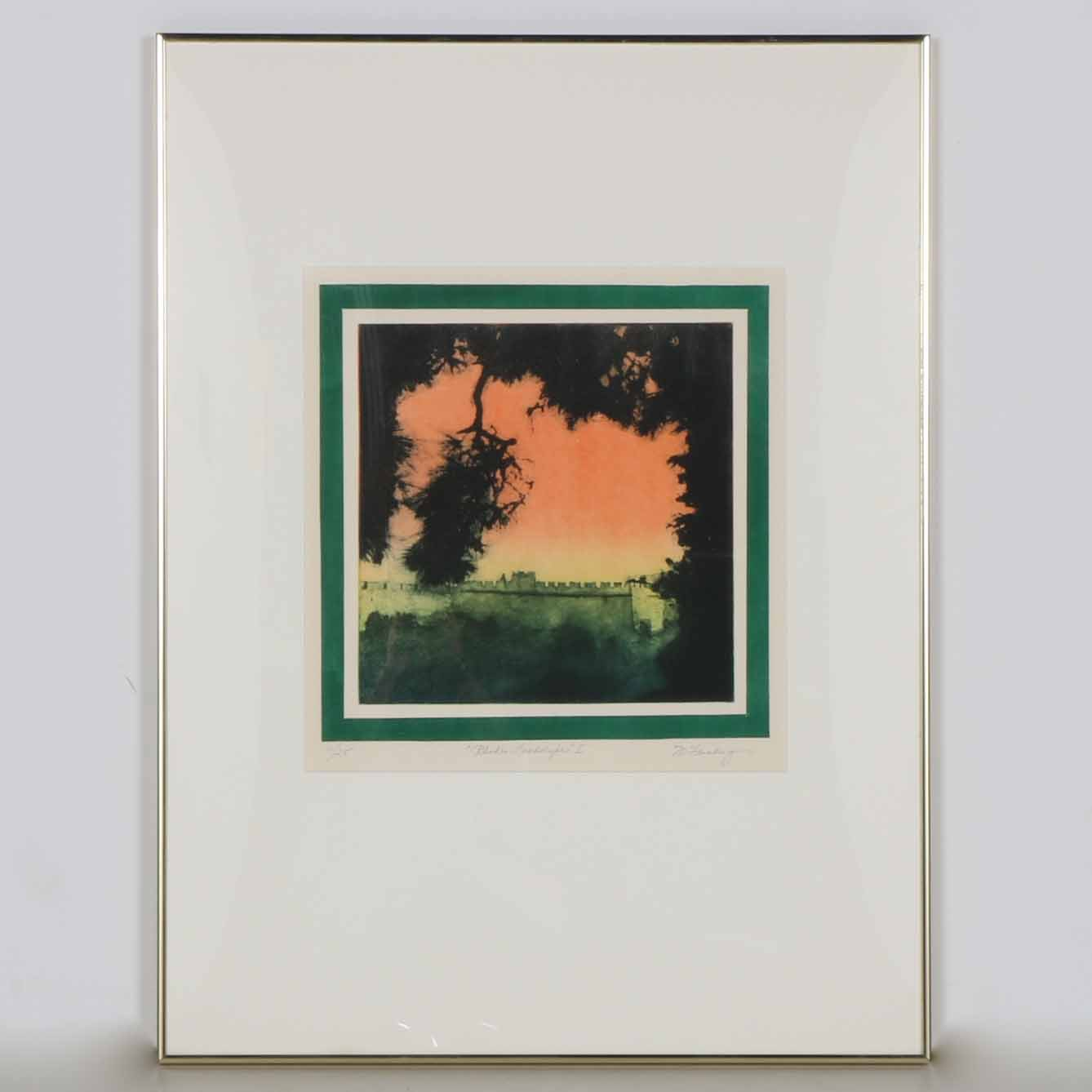 "Limited Edition M. Feinberg Aquatint ""Rhodes Landscape I"""