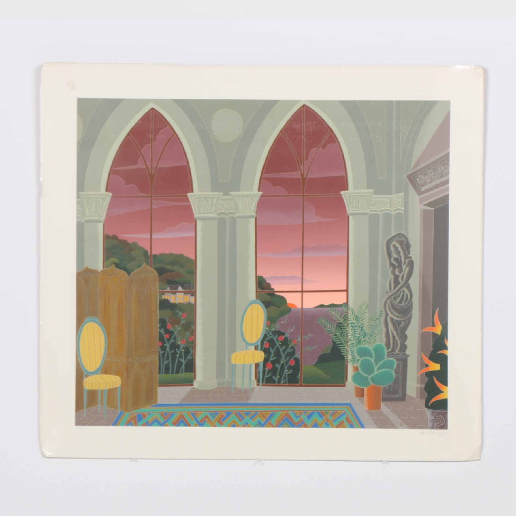Thomas McKnight Limited Edition Serigraph of an Interior Scene a