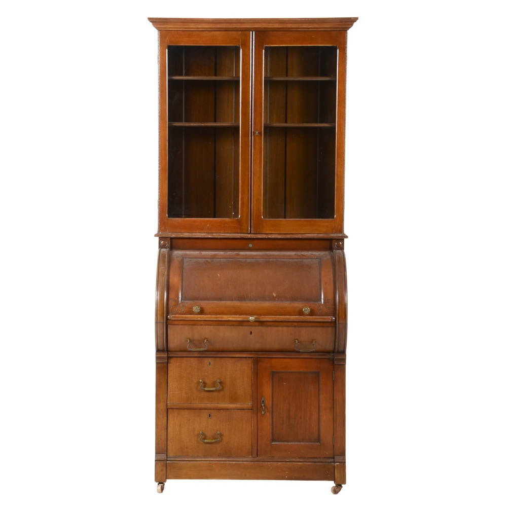 Antique Roll Top Secretary Desk With Hutch Ebth